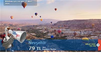 İstanbul Nevşehir Uçak Bileti Kampanyası